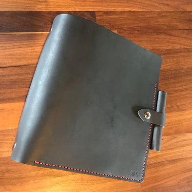 "Buffalo Black 2"" 3-Ring Notebook with Red Stitching"