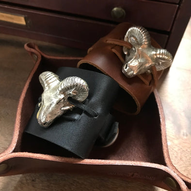 Custom Leather Rams Head Cuffs