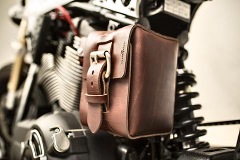 Custom Leather Motorcycle Battery Holder