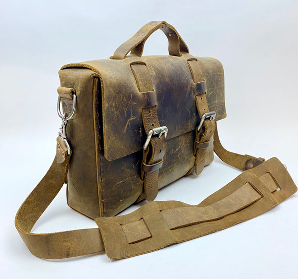 Seasoned No. 4313 - Minimalist Standard Leather Satchel in Crazy Horse with Rollerboard Strap