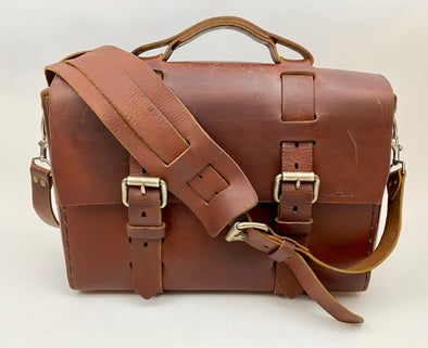 Seasoned No. 4313 - Minimalist Large Leather Satchel in Scotch Grunge with Rollerboard Strap and Rear Insert