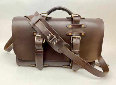 Seasoned No. 4311 - Large Bridle Brown Leather Satchel with Black Rear Insert