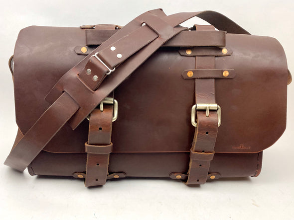 Seasoned No. 4311 - Large Scotch Grunge Leather Satchel with Backpack Option & Custom Front Insert