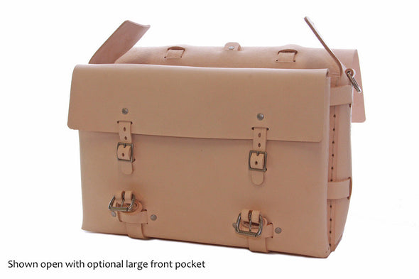 No. 4316 Bohemian Leather Satchel in Natural Tan w/ exterior pocket