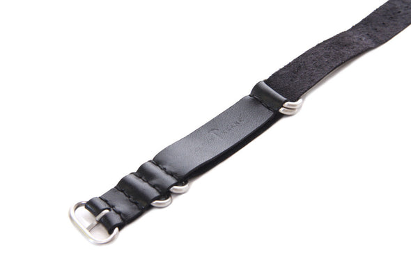 No. 515 Three Ring Leather Watch Band w/ Stainless Steel & Deep Black Leather
