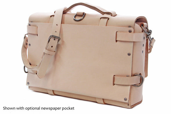 No. 4316 Bohemian Leather Satchel in Natural Tan w/ newspaper pocket