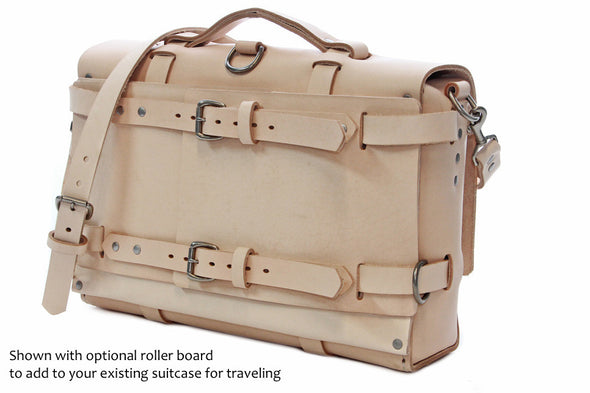 No. 4316 Bohemian Leather Satchel in Natural Tan w/ rollerboard