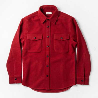 The Maritime Shirt Jacket in Clifford Red by Taylor Stitch