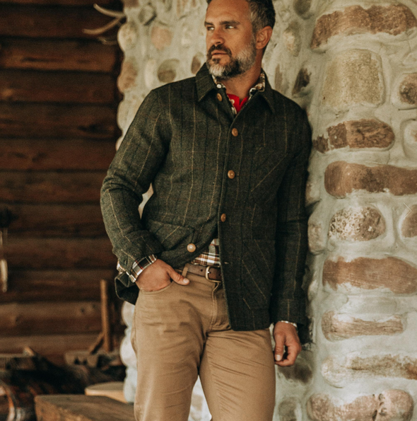 The Ojai Jacket in Olive Tweed Herringbone by Taylor Stitch