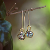 14kt Gold Filled Open Inlay Hex Earrings (Amazonite + Gold Leaf)
