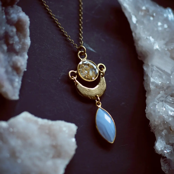 Blue Lace Agate Moon Pendant