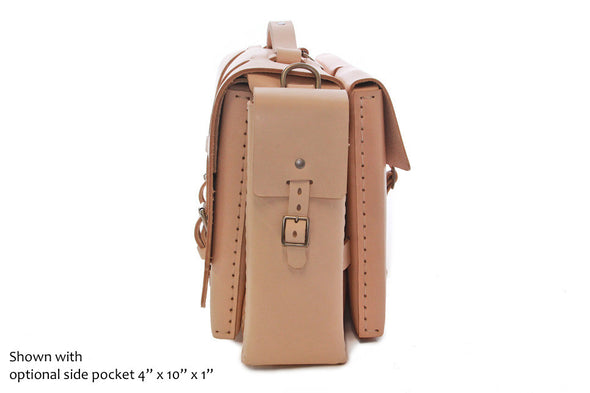 No. 4316 Bohemian Leather Satchel in Natural Tan w/ side pockets