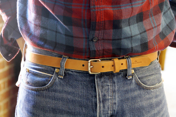 No. 814 - Skinny Work Belt Natural Tan