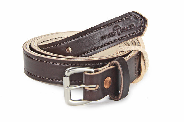 No. 418 - The Stitched Skinny Work Belt in Bridle Brown