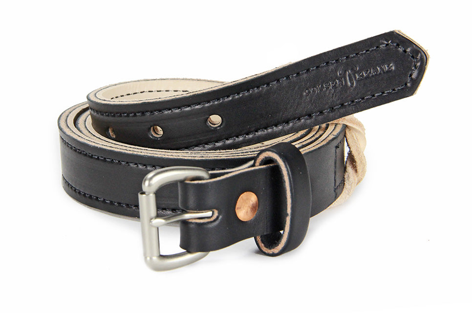 No. 418 - The Stitched Skinny Work Belt in Bridle Black