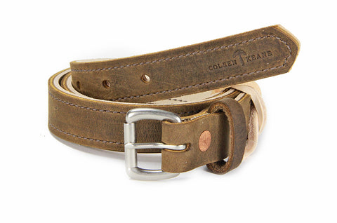 No. 418 - The Stitched Skinny Work Belt in Crazy Horse