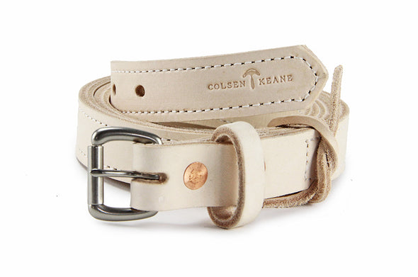 No. 418 - The Stitched Skinny Work Belt in Natural Tan
