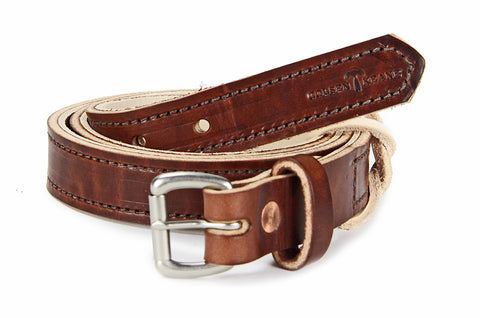 No. 418 - The Stitched Skinny Work Belt in Havana Brown