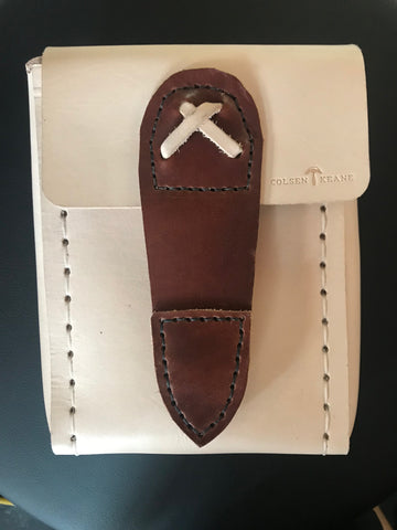 Custom Belt Pouch in Natural Tan w/ Magnetic Snap Closure in Havana Brown Accent Leather