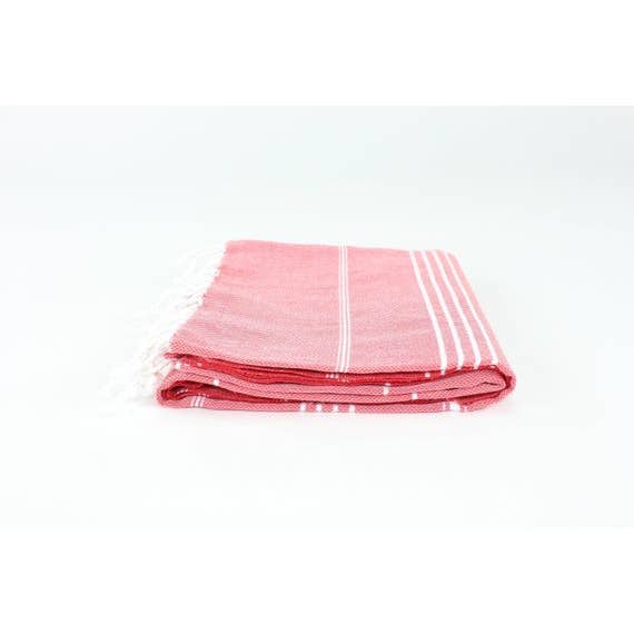 Striped Peshtemal Towel - Red
