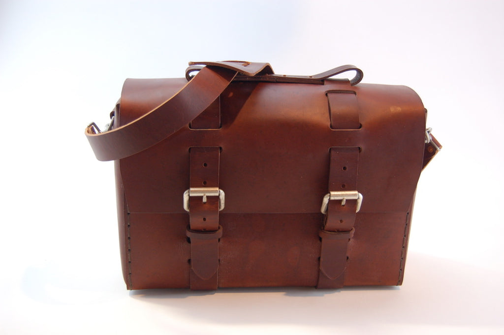 No. 4313 - Minimalist Large Leather Satchel in Scotch Grunge w/ Rollerboard Strap - SB11 - $400