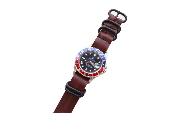 No. 515 Three Ring Leather Watch Band w/ Black Steel & Scotch Grunge Leather