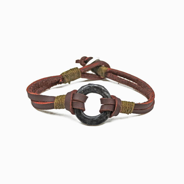 Aadi Brown Leather Men's Bracelet