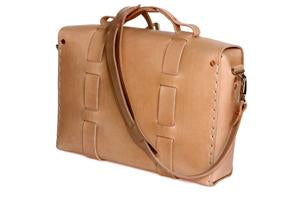 No. 4313 - Minimalist Standard Leather Satchel in Natural Tan