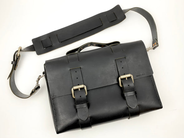 Seasoned No. 4313 - Minimalist Standard Leather Satchel in Buffalo Black
