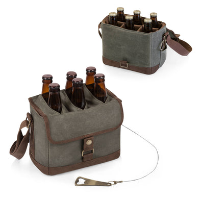 Beer Caddy Cooler Tote with Opener - Khaki Green