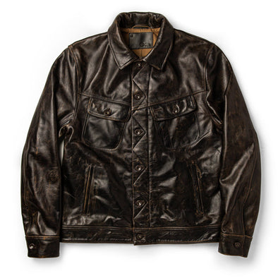 The Long Haul Jacket in Cola Leather by Taylor Stitch