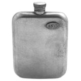 No. 618 - Vintage Pewter Hip Flask w/ Leather Wrap in Natural Tan