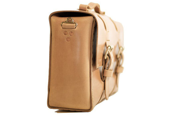 No. 4313 - Minimalist Large Leather Satchel in Natural Tan