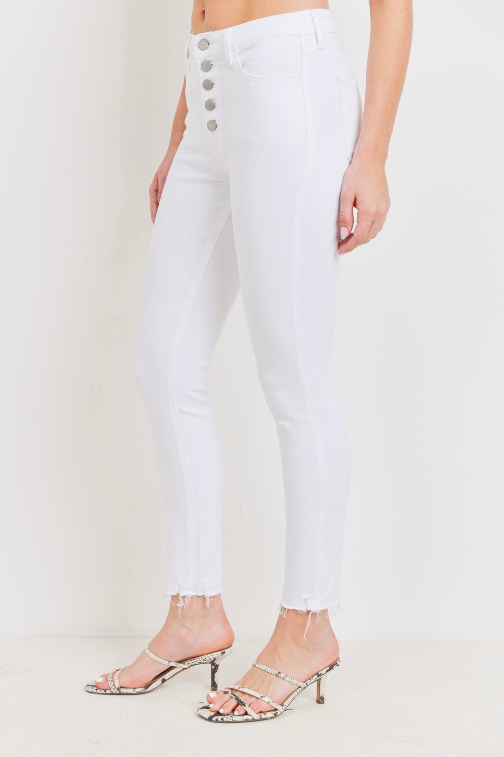 Just Black Button Up Skinny Hem Scratch (White)