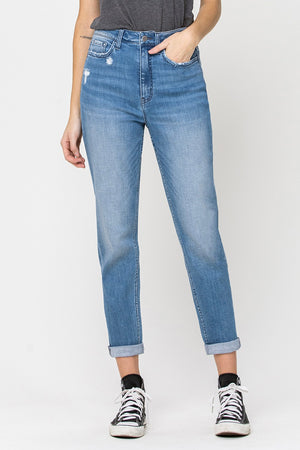 Vervet Roll Up Mom Jean (Harbor)