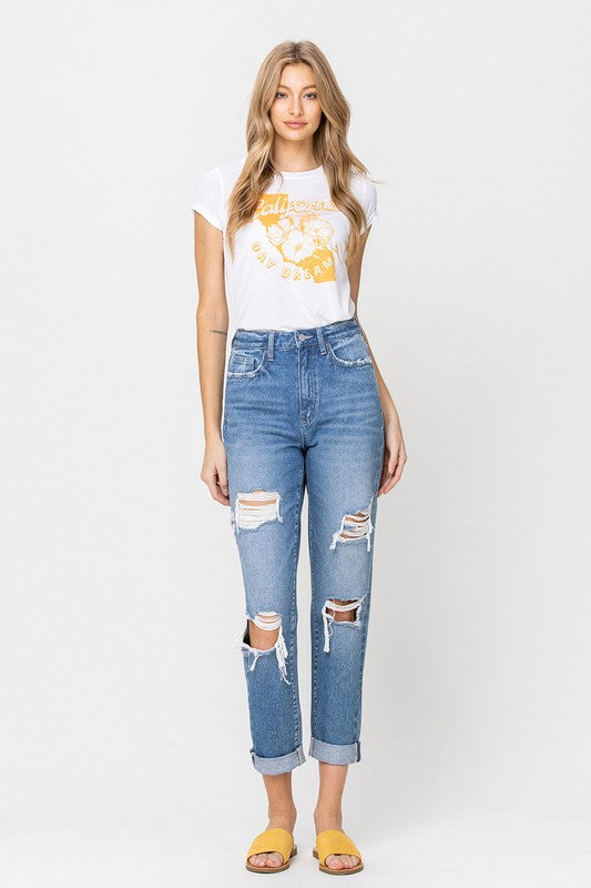 Vervet Distressed Mom Jean
