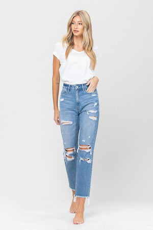 Vervet Raw Hem Mom Jeans