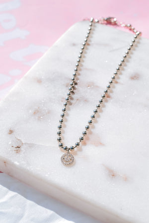 CZ Smiley Bead Necklace