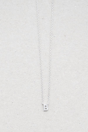 Initial CZ Necklace (Silver Tone Metal)