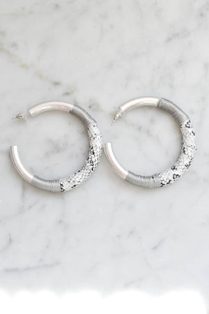 "Collections ""Snake"" Hoop Earrings (Silver Tone Metal)"