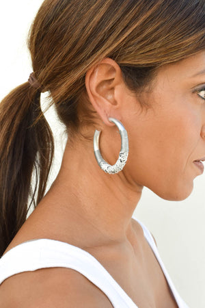 Snake Hoop Earrings (Silver)