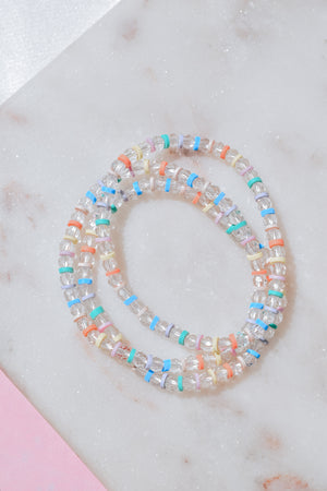 Clear Rainbow Stack Bracelets