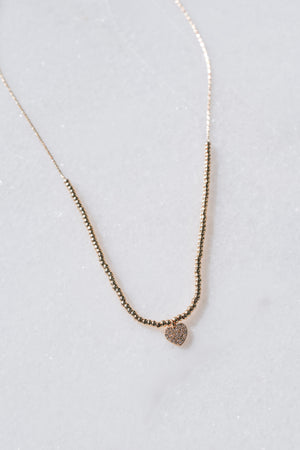 Dainty Beaded Heart Necklace (Gold)