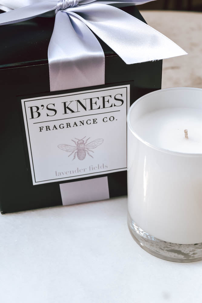 B's Knees White Glass Candle (Lavender Fields)