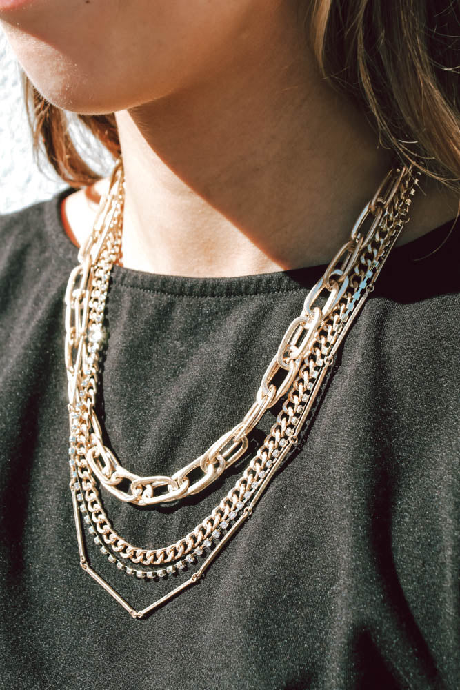 Xavier Layered Necklace (Gold Tone)