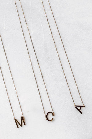 Medium Matte Initial Necklace (Gold Tone Metal)
