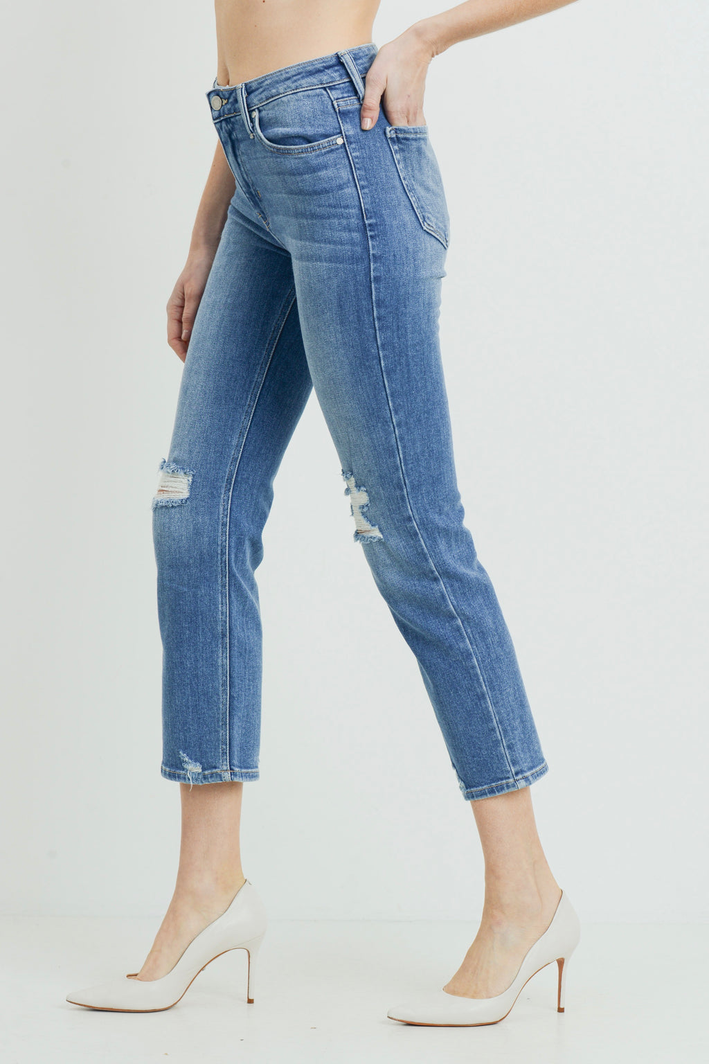 Just Black High Rise Hem Destruction Straight (Medium Denim)
