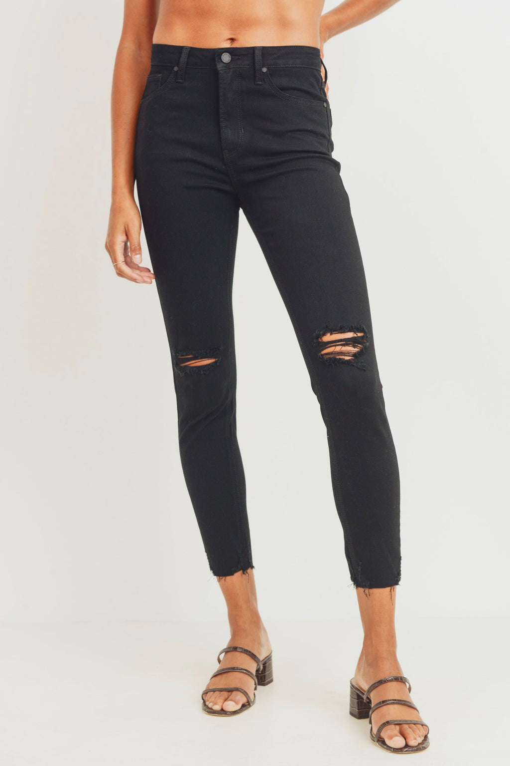 Just Black High Rise Destroyed Skinny (Black)