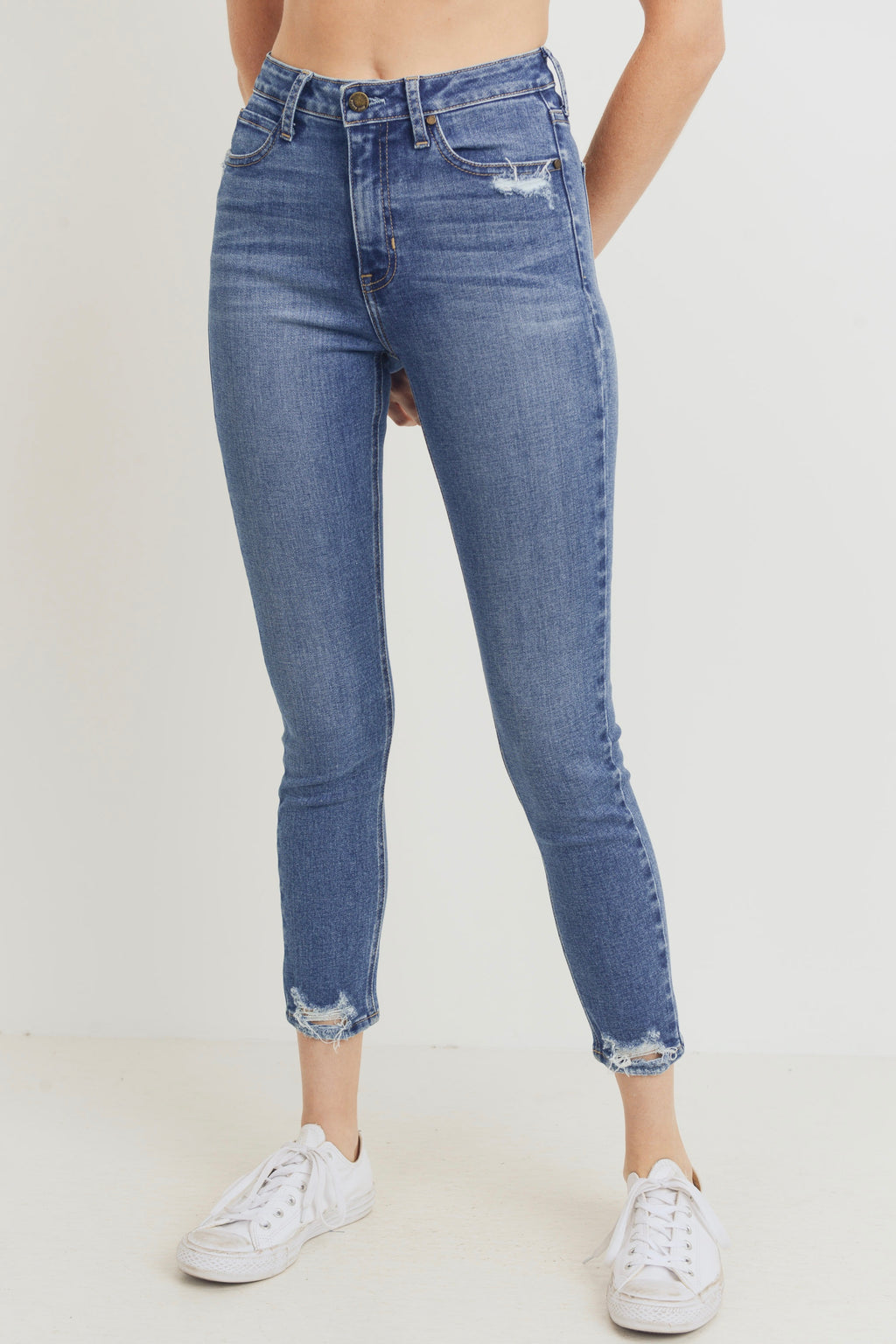 Just Black High Rise Bottom Distressed Skinny (Medium Denim)