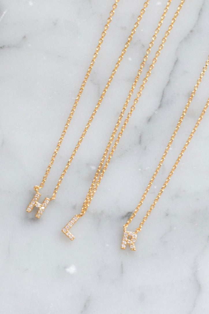 Initial CZ Necklace (Gold Tone Metal)